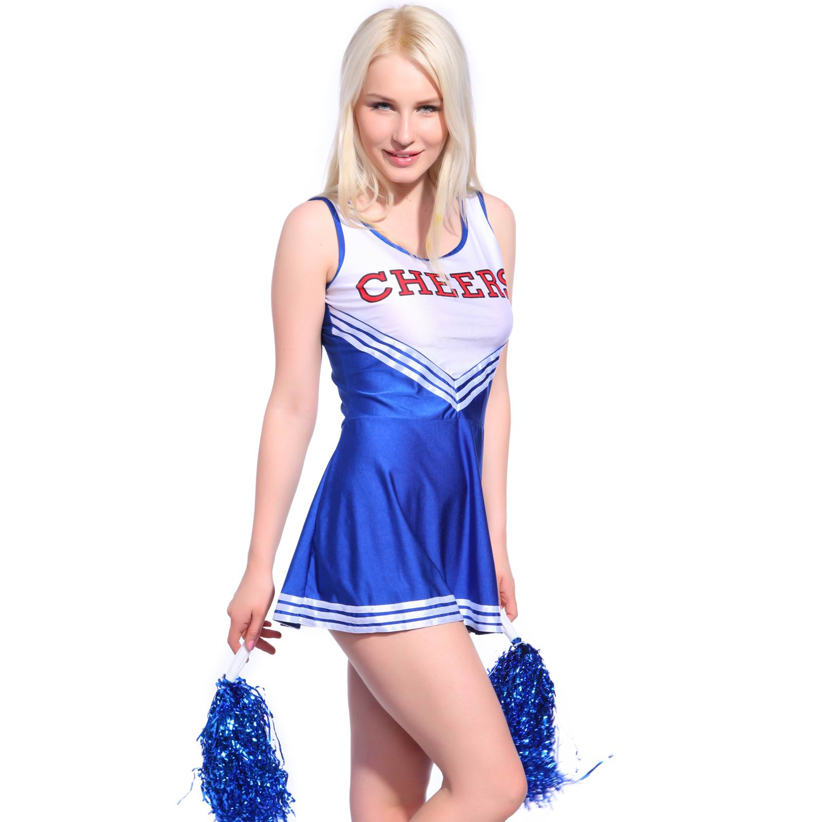 F1537-3 Sexy High School Girl Cheerleader Hen Party Uniform Costume w  Pompoms